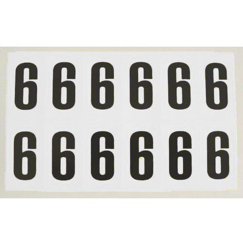 Numbers And Letters Black On White Number 6 H38Xw21mm 12 Characters Per Sheet