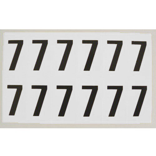 Numbers And Letters Black On White Number 7 H38Xw21mm 12 Characters Per Sheet