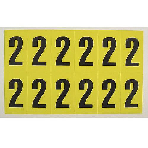 Adhesive Label Bin Sticker Number 2 H38xW21mm 12 Characters Per Sheet Black Text On Yellow