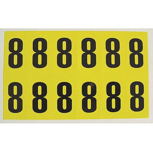 Adhesive Label Bin Sticker Number 8 H38xW21mm 12 Characters Per Sheet Black Text On Yellow