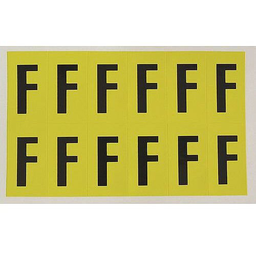 Adhesive Label Bin Sticker Letter F H38xW21mm 12 Characters Per Sheet Black Text On Yellow