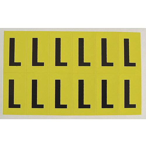 Adhesive Label Bin Sticker Letter L H38xW21mm 12 Characters Per Sheet Black Text On Yellow
