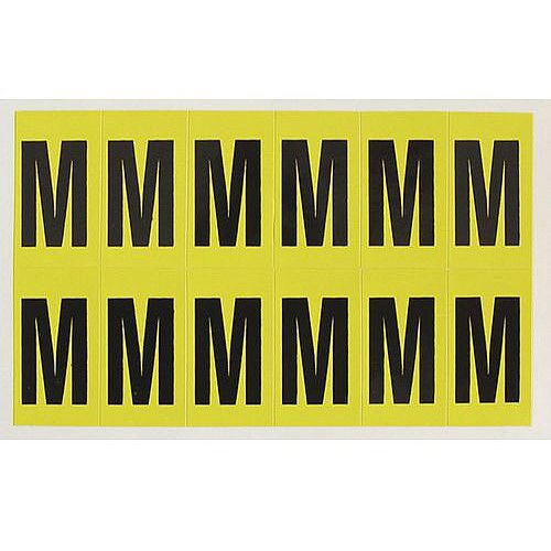 Adhesive Label Bin Sticker Letter M H38xW21mm 12 Characters Per Sheet Black Text On Yellow