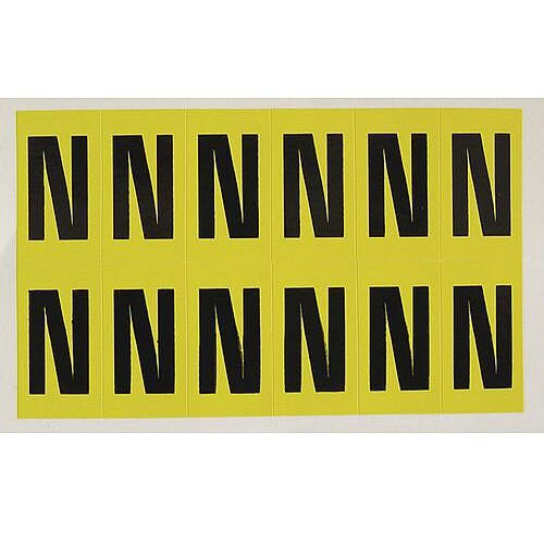 Adhesive Label Bin Sticker Letter N H38xW21mm 12 Characters Per Sheet Black Text On Yellow