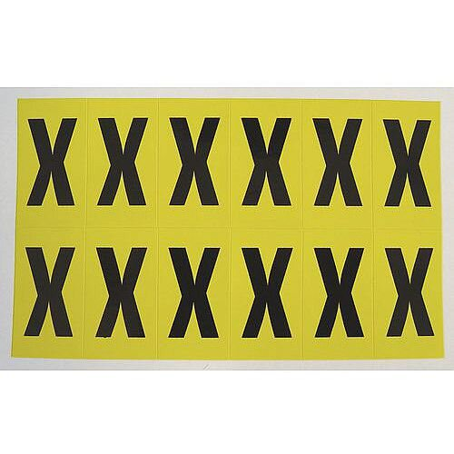 Adhesive Label Bin Sticker Letter X H38xW21mm 12 Characters Per Sheet Black Text On Yellow