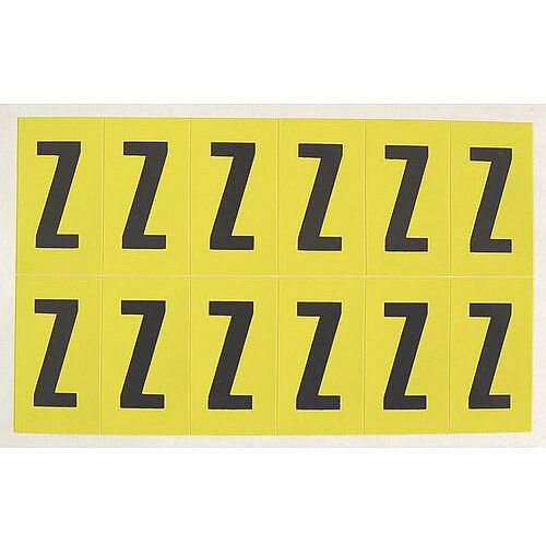 Adhesive Label Bin Sticker Letter Z H38xW21mm 12 Characters Per Sheet Black Text On Yellow