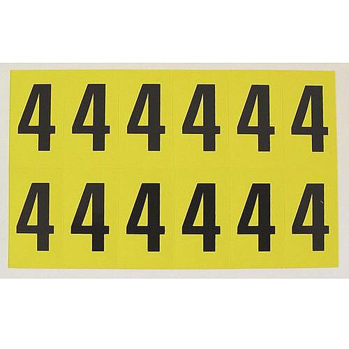 Adhesive Label Bin Sticker Number 4 W38xH90mm 6 Characters Per Sheet Black Text On Yellow