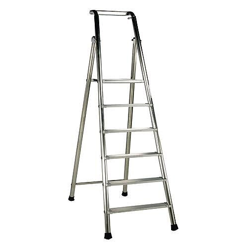 Extra Heavy Duty Aluminium 9 Step Ladder Platform Height 2.14M Closed Height 3.17M Capacity 350Kg