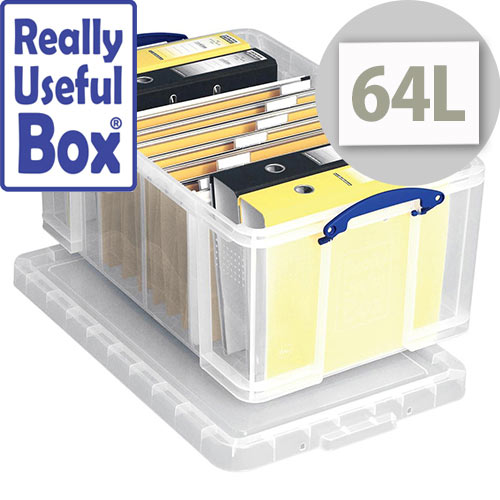 Really Useful Box Transparent Container 64 Litres Clear