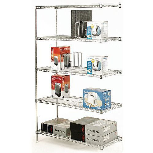 Olympic Chrome Wire Shelving System 1895mm High Add-On Unit WxD 914x610mm 5 Shelves &2 Posts 350kg Shelf Capacity