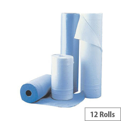 Multipurpose Wipers 2 Ply Cleaning Rolls 59.4m Pack 12 Blue