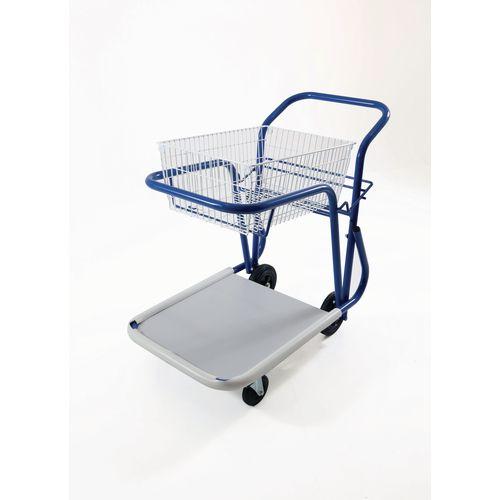 Long Wheelbase Mailroom Trolley With 1 Basket 1 Platform