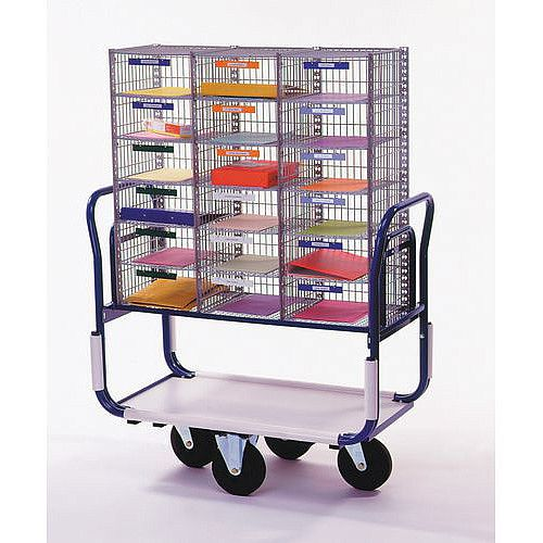 Dual Handle Mailroom Trolley With 3 Column Sort Unit