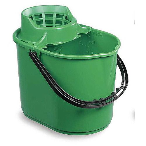 Economy Colour Coded Plastic Mop Bucket Green Capacity 12L