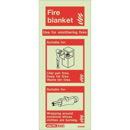 Photoluminescent Rigid Plastic Sign 200X80mm Fire Blanket
