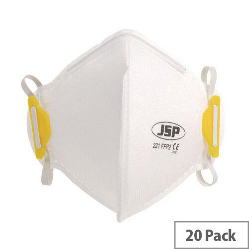 P2 Fold Flat Disposable Masks P2 Unvalved Pack of 20