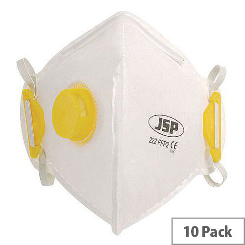 P2 Fold Flat Disposable Masks P2 Valved Pack of 10