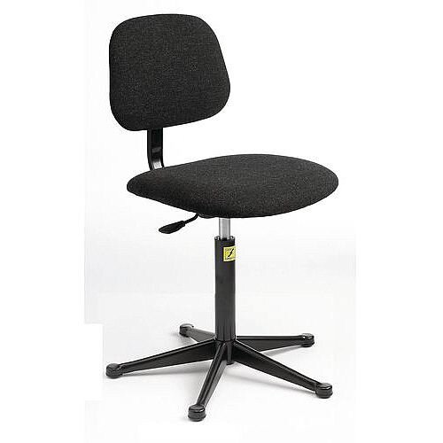 Anti-Static Chair Metal 5 Star Base With Glides Height Adjustment 460-660mm Light Grey Fabric