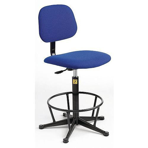 Anti-Static Chair With High Base With Foot Ring And Glides Height Adjustment 550-800mm Blue Fabric