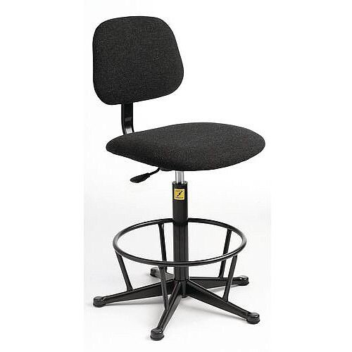 Anti-Static Chair With High Base With Foot Ring And Glides Height Adjustment 550-800mm Charcoal Fabric