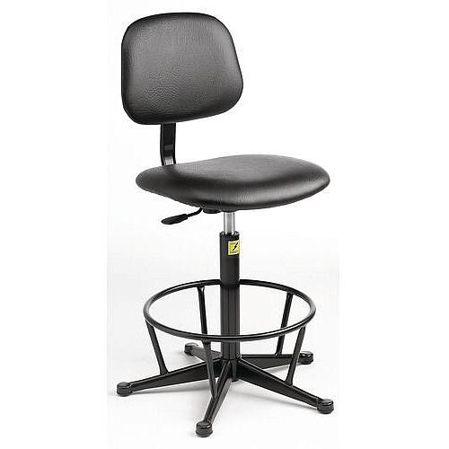Anti-Static Chair With High Base With Foot Ring And Glides Height Adjustment 550-800mm Light Grey Fabric