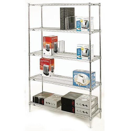 Olympic Chrome Wire Shelving System 1895mm High Starter Unit WxD 1524x457mm 5 Shelves &4 Posts 275kg Shelf Capacity