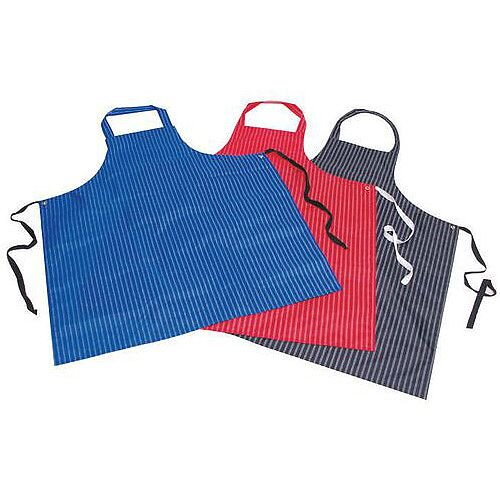 Pu &Nylon Polyester Twin Stripe Butchers Aprons Navy Blue