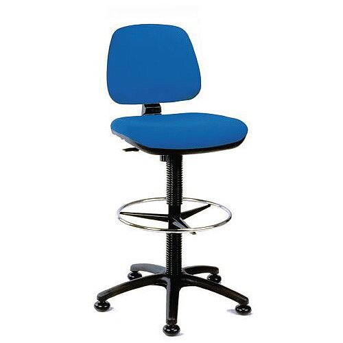 Medium Back Draughtsman Chair Blue Fabric