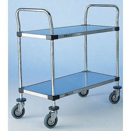 Solid Stainless Steel Shelved Trolley With 2 Shelves Shelf Lxw 762X457Mm Capacity 200kg
