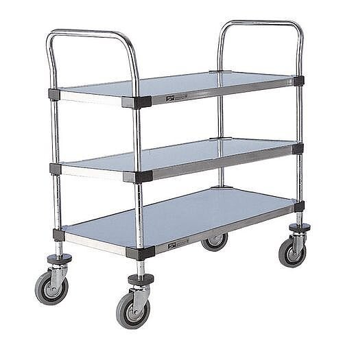 Solid Stainless Steel Shelved Trolley With 3 Shelves Shelf Lxw 672X457Mm Capacity 200kg