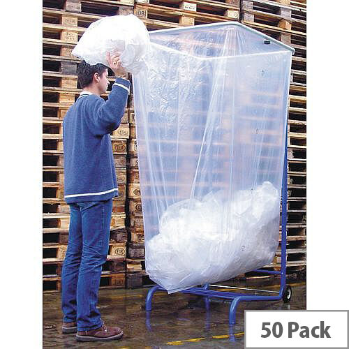 Large Capacity Bin Liner Holder Rubbish Bags 1000L HxWxL 1600x1100x600 Pack of 50