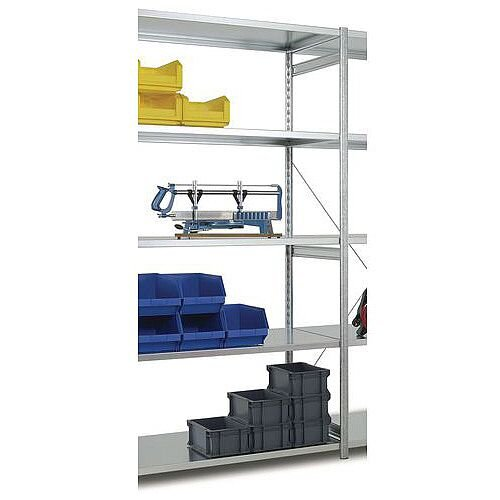 Medium Duty Galvanised Boltless Shelving Add-On Bay HxWxDmm 2000x1000x300