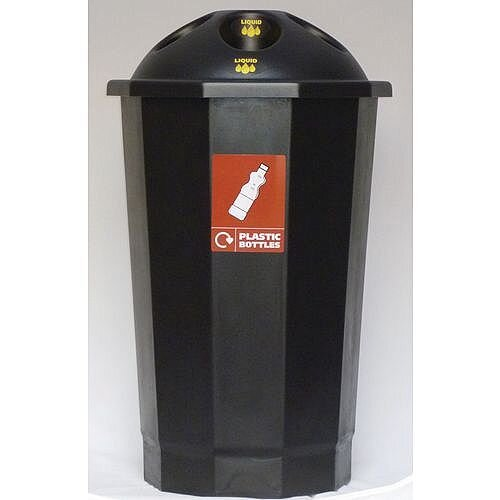 Recycling Bin Bank System For Plastic Bottles Black 75L