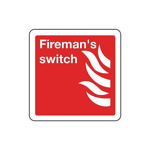 Self Adhesive Vinyl Fireman S Switch Sign