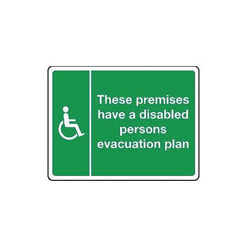 Self Adhesive Vinyl Disabled Persons Evacuation Plan Sign