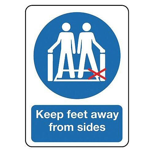 Self Adhesive Vinyl Escalators And Passenger Conveyors Sign Keep Feet Away From Sides