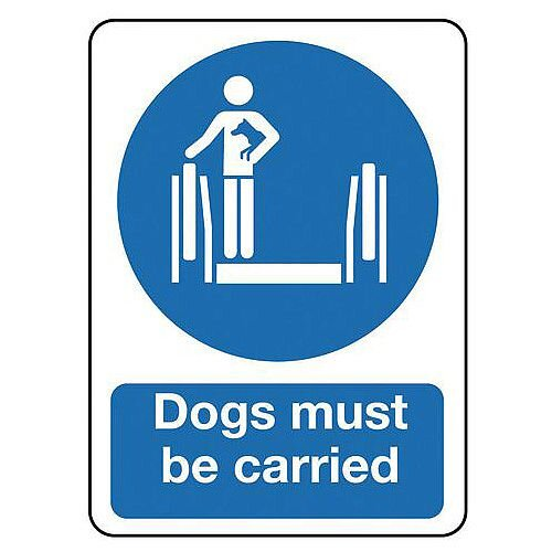 Self Adhesive Vinyl Escalators And Passenger Conveyors Sign Dogs Must Be Carried