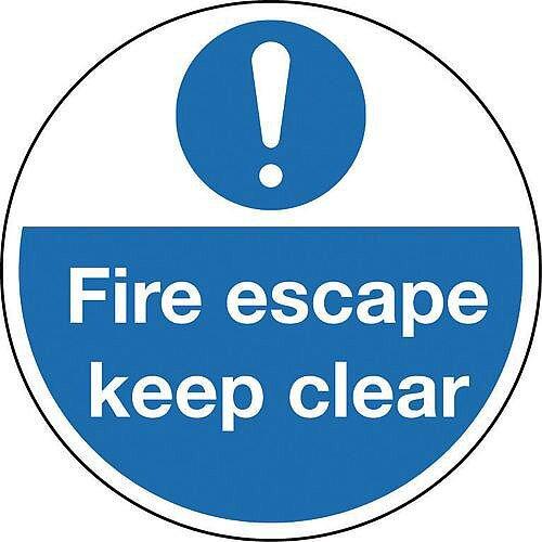 Sign Fire Escape Keep Clear 400 Dia Floor Graphic Vinyl