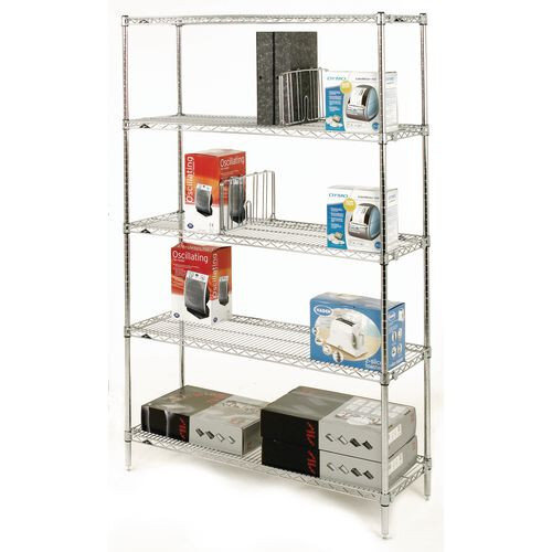 Olympic Chrome Wire Shelving System 1895mm High Starter Unit WxD 1219x356mm 5 Shelves &4 Posts 350kg Shelf Capacity
