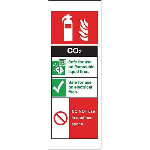 Self Adhesive Vinyl Fire Extinguisher Sign Co2