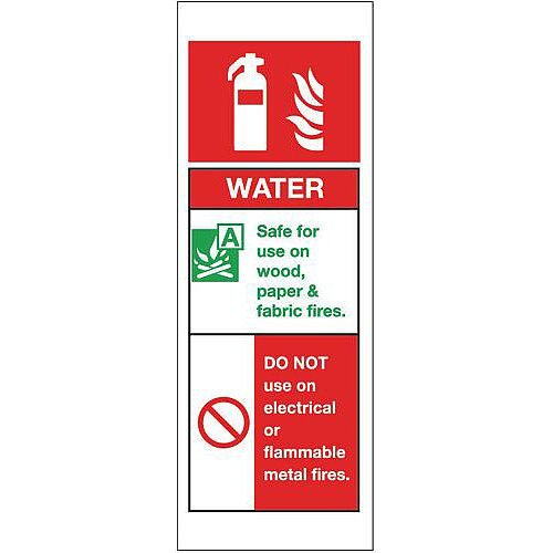 Self Adhesive Vinyl Fire Extinguisher Sign Water