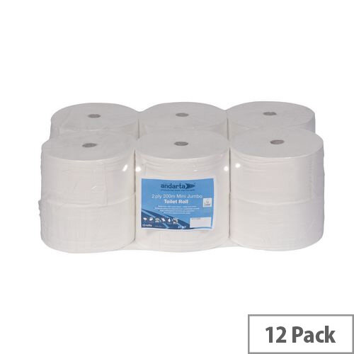 Andarta Premium Mini Jumbo Dispenser Toilet Paper Tissue Rolls 200m 2-Ply White Toilet Tissue Refills Pack 12