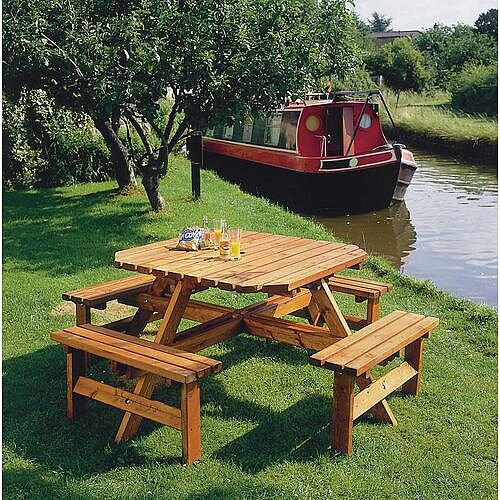Octagonal Wooden Picnic Bench Adult 8 Seat Bench