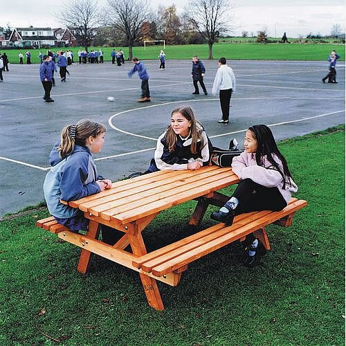Wooden Picnic Bench 8 Seater Disability Access At Both Ends