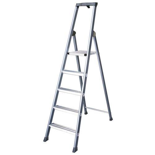 Extra Deep Tread Aluminium Step Ladder 6 Tread Platform Height 1.25m Silver