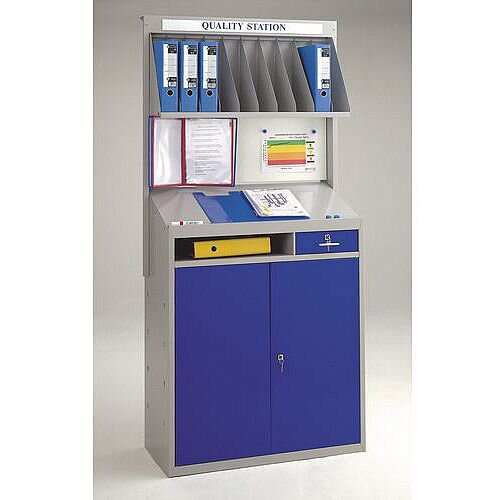Plastic Utility Cupboard With Drywipe Board Drywipe &Magnetic Backboard And With 10 Pigeon Holes H x W x D mm: 2000 x 964 x 460