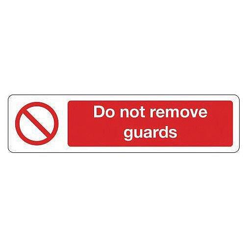 Aluminium Mini Prohibition Sign Do Not Remove Guards