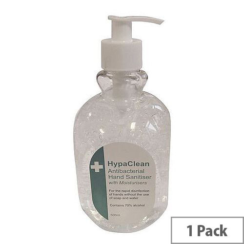 Hypaclean Hand Sanitiser Alcohol Hand Gel 500ml Pack 1