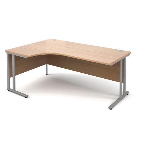 1800 Left Hand Ergonomic Beech Desk With Silver Legs