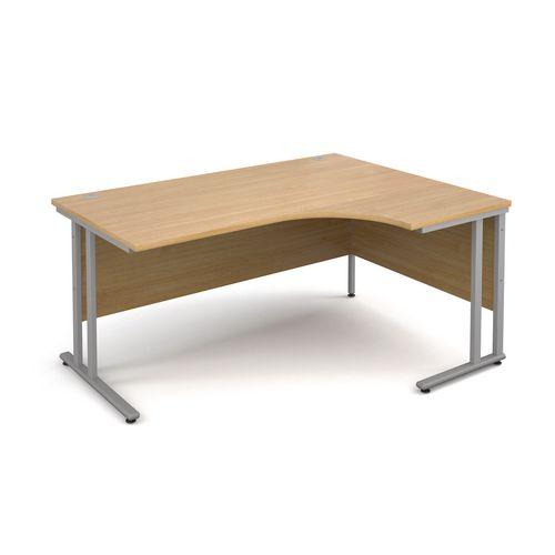1600 Right Hand Ergonomic Oak Desk Silver Legs